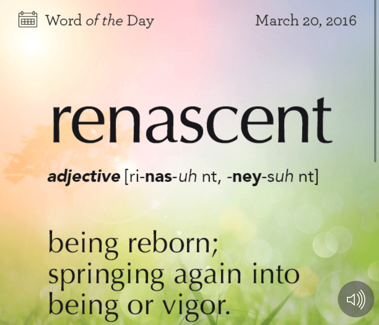 Word Of The Day For Sunday